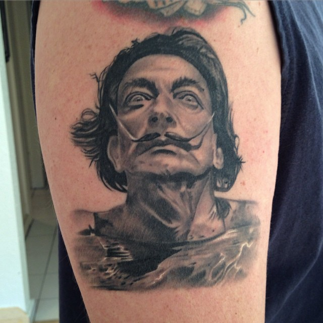 jonnie evil tattoo black gray dali portrait