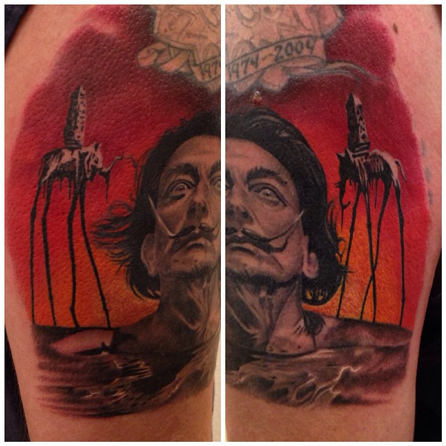 jonnie evil tattoo portrait dali Salvador