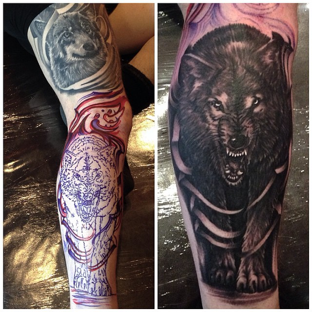 jonnie evil tattoo wolf black gray