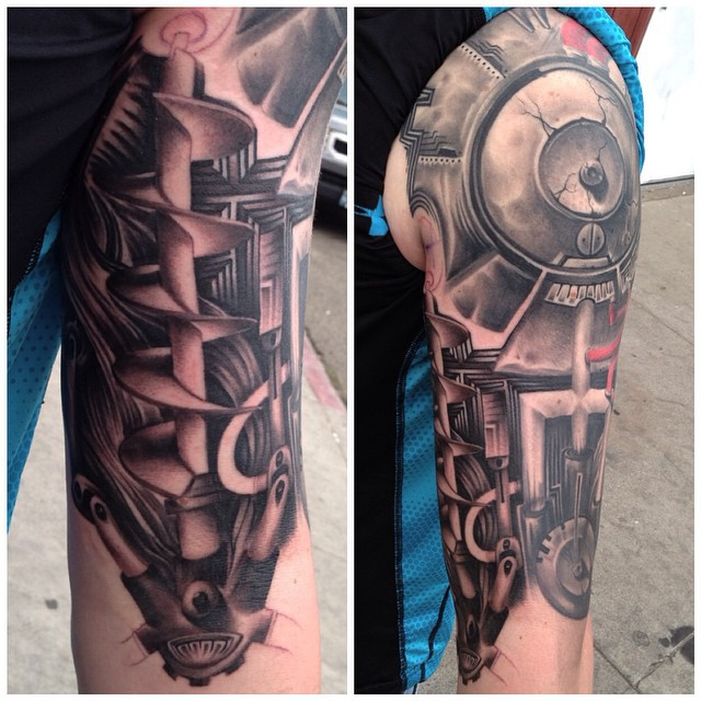 jonnie evil tattoo mechanical biomech