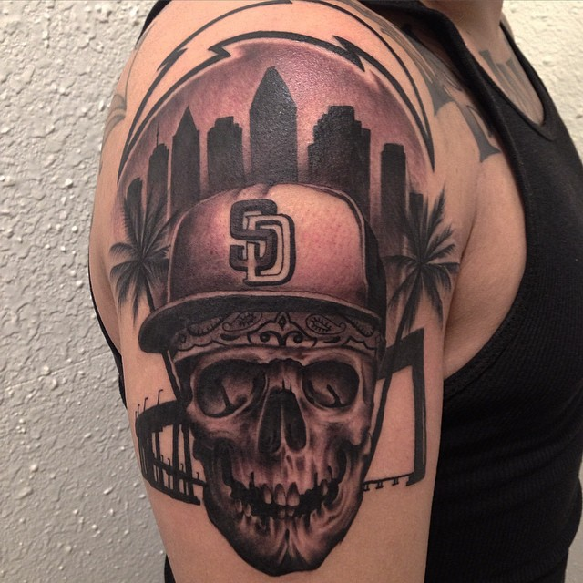 jonnie evil san diego skull tattoo black and grey