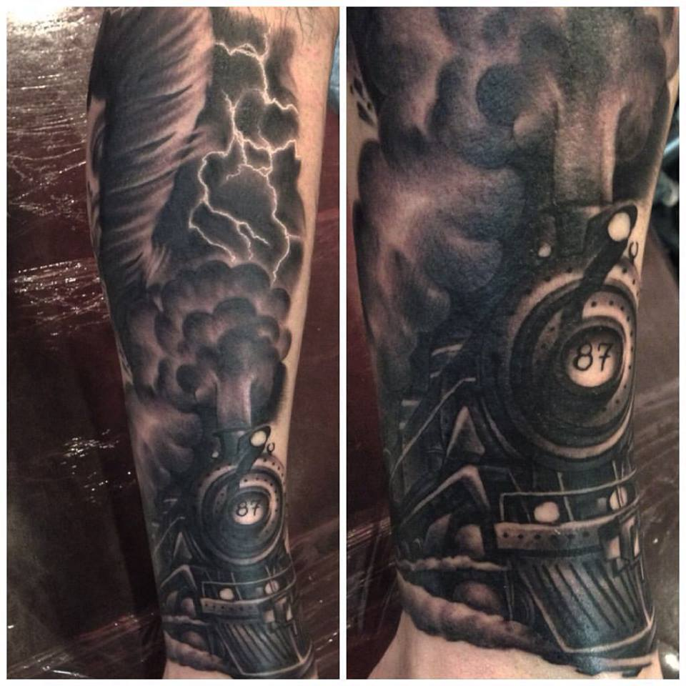 jonnie evil tattoo train black gray tornado