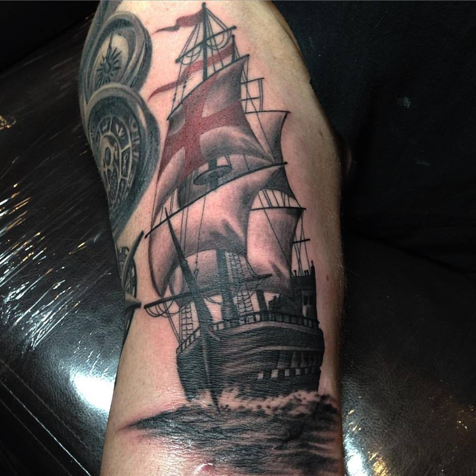 jonnie evil tattoo ship sailing black gray