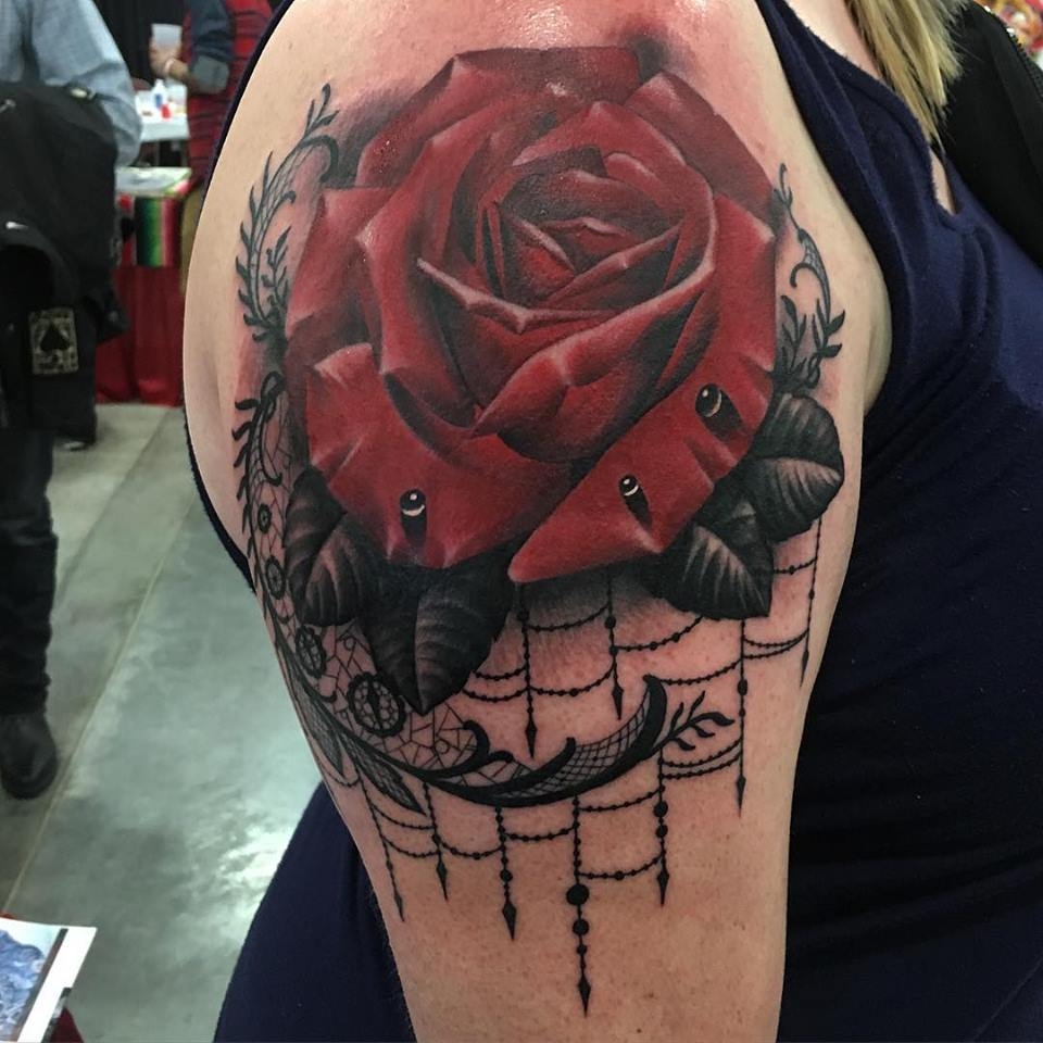 jonnie evil tattoo color rose lace