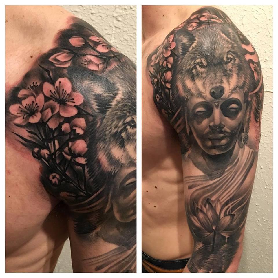 jonnie evil tattoo buddha cherry blossom wolf