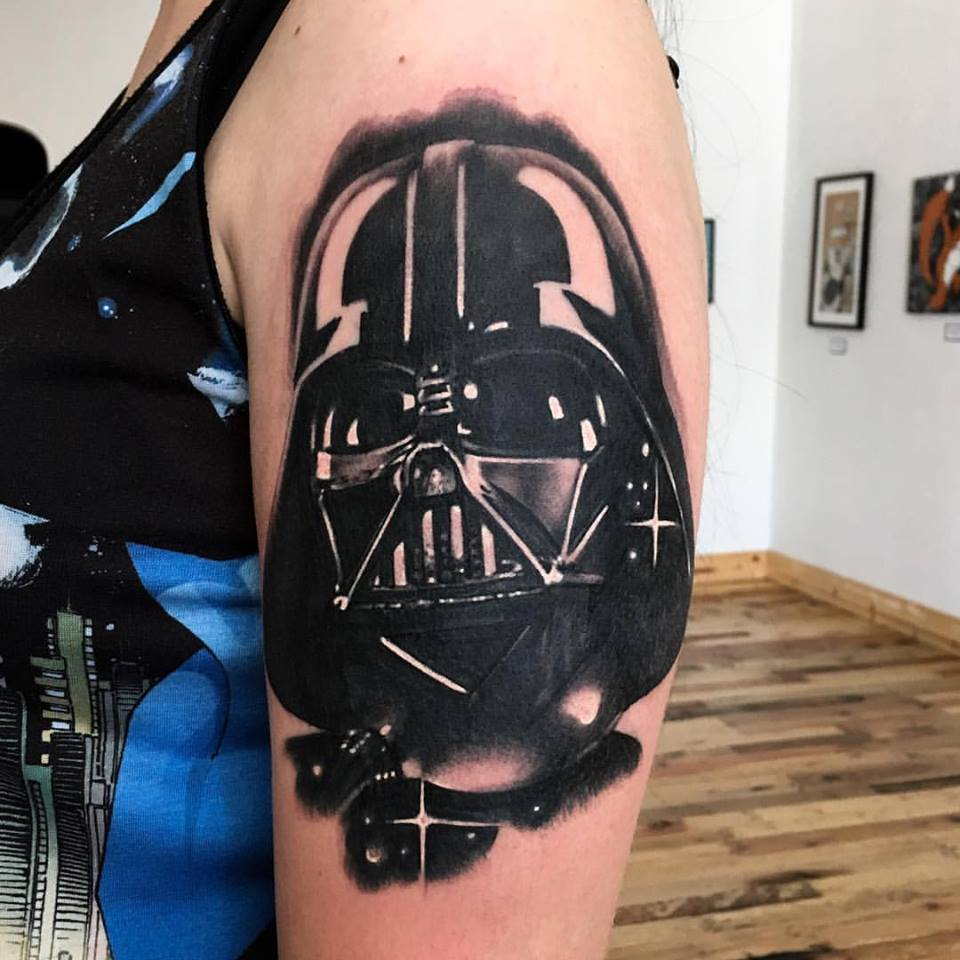 jonnie evil tattoo black gray star wars darth vader