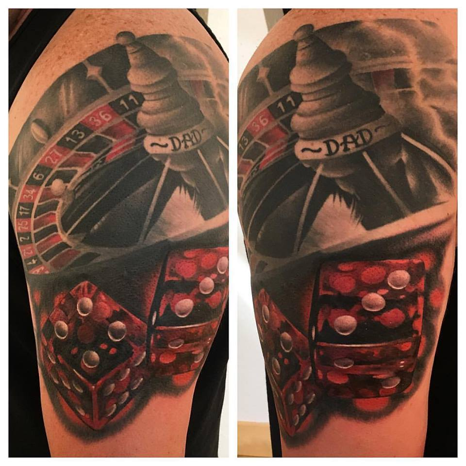 jonnie evil tattoo coverup dice roulette gambling