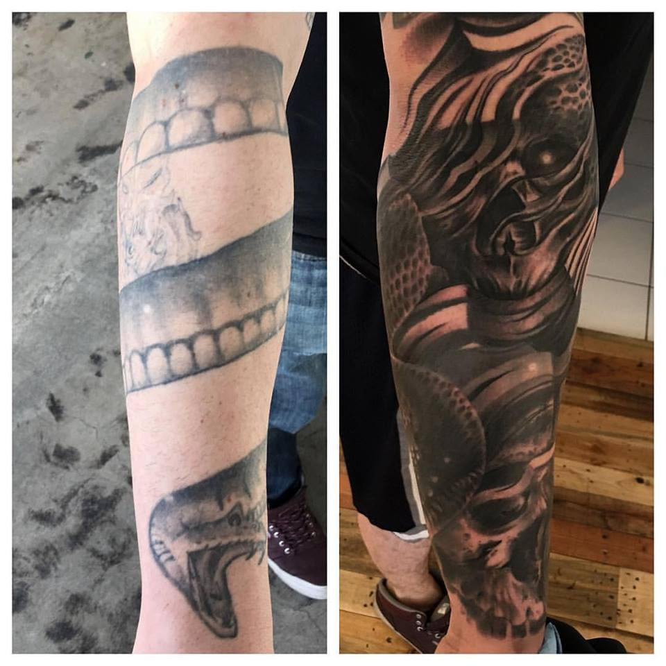 jonnie evil coverup tattoo black fray skull
