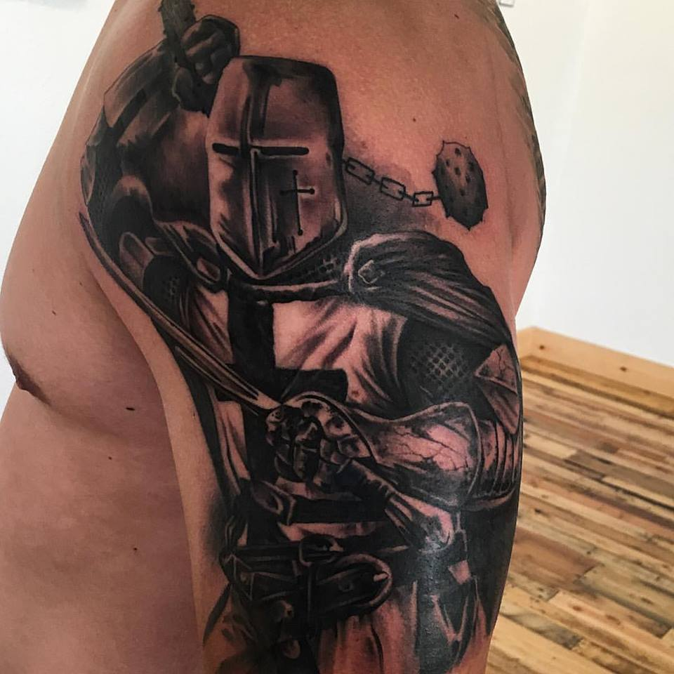 jonnie evil knight tattoo black gray