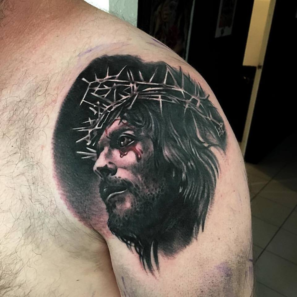 jonnie evil tattoo black gray jesus christ