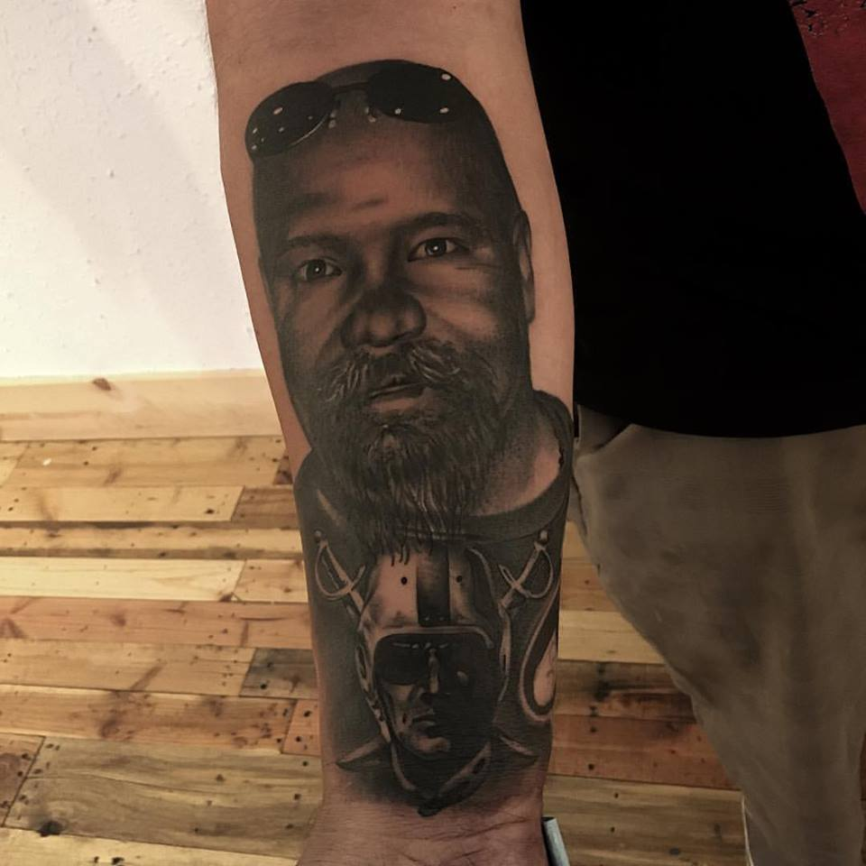 jonnie evil tattoo black gray portrait father