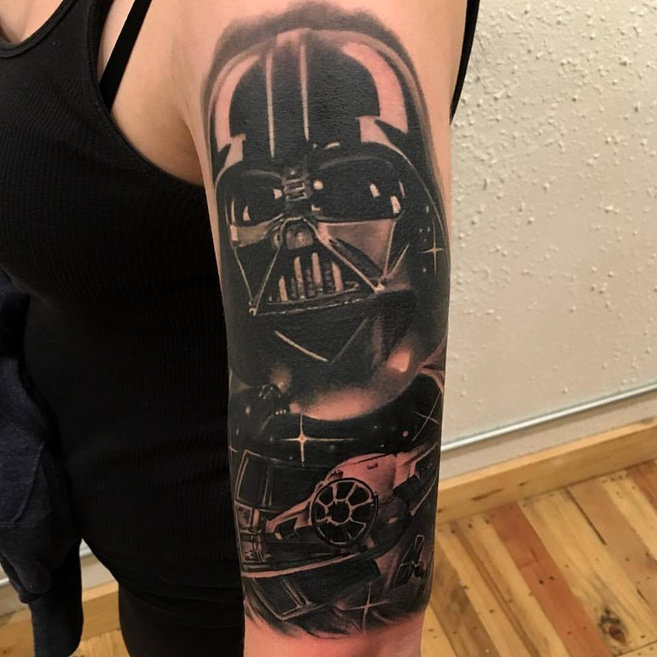 jonnie evil darth vader tattoo black gray