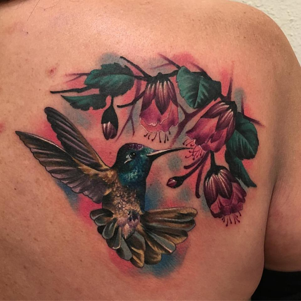 jonnie evil color tattoo humming bird flower