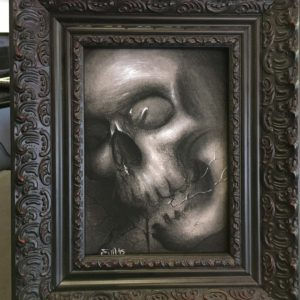 charcoal cracked skull original framed