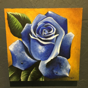 blue rose acrylic painting 2015