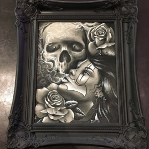 original charcoal skull clown girl rose