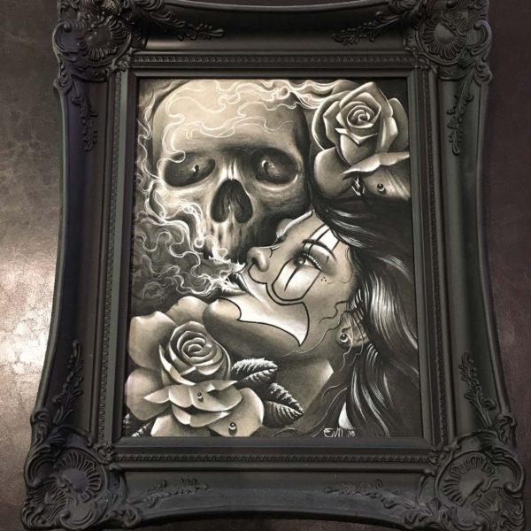 original charcoal skull clown girl rose